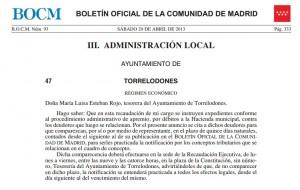 El Ayuntamiento de Torrelodones cita a 1400 vecinos deudores BOCM-20-abril-2013