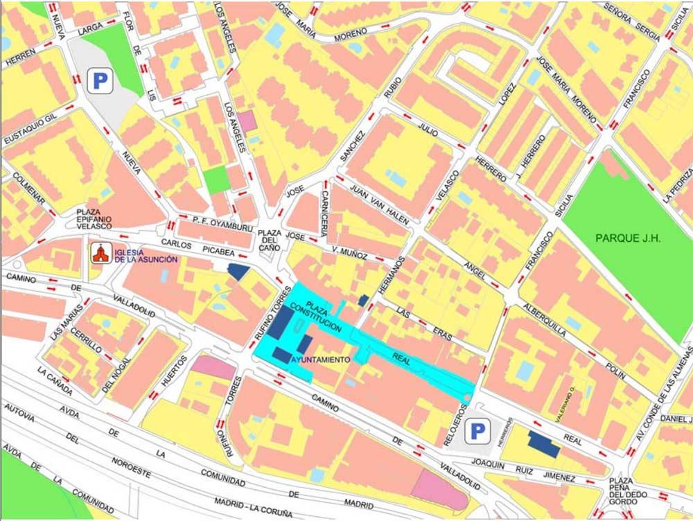 Plano centro Torrelodones. En azul la zona peatonalizada los sábados y domingos