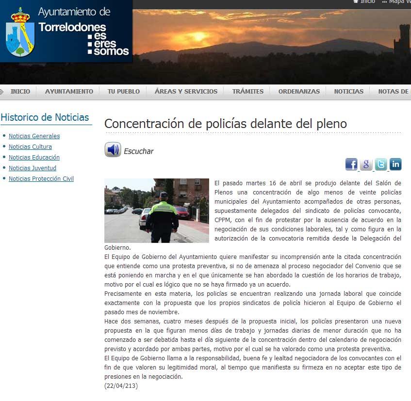 Nota del Ayuntamiento en relación a la concentración de Policías Municipales del 16-04-2013
