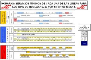 Horario de los autobuses de Julián de Castro S.A. para la Huelga de mayo 2013