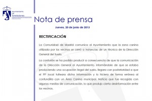 Nota rectificativa del Ayuntamiento de Torrelodones