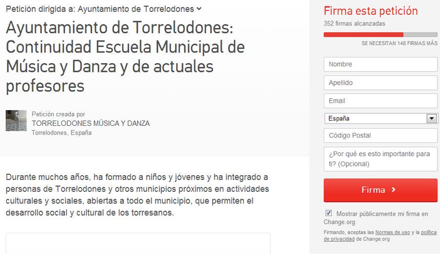 Recogen firmas en Change.org para solicitar al Ayuntamiento de Torrelodones la continuidad de la Escuela Municipal de Música y Danza