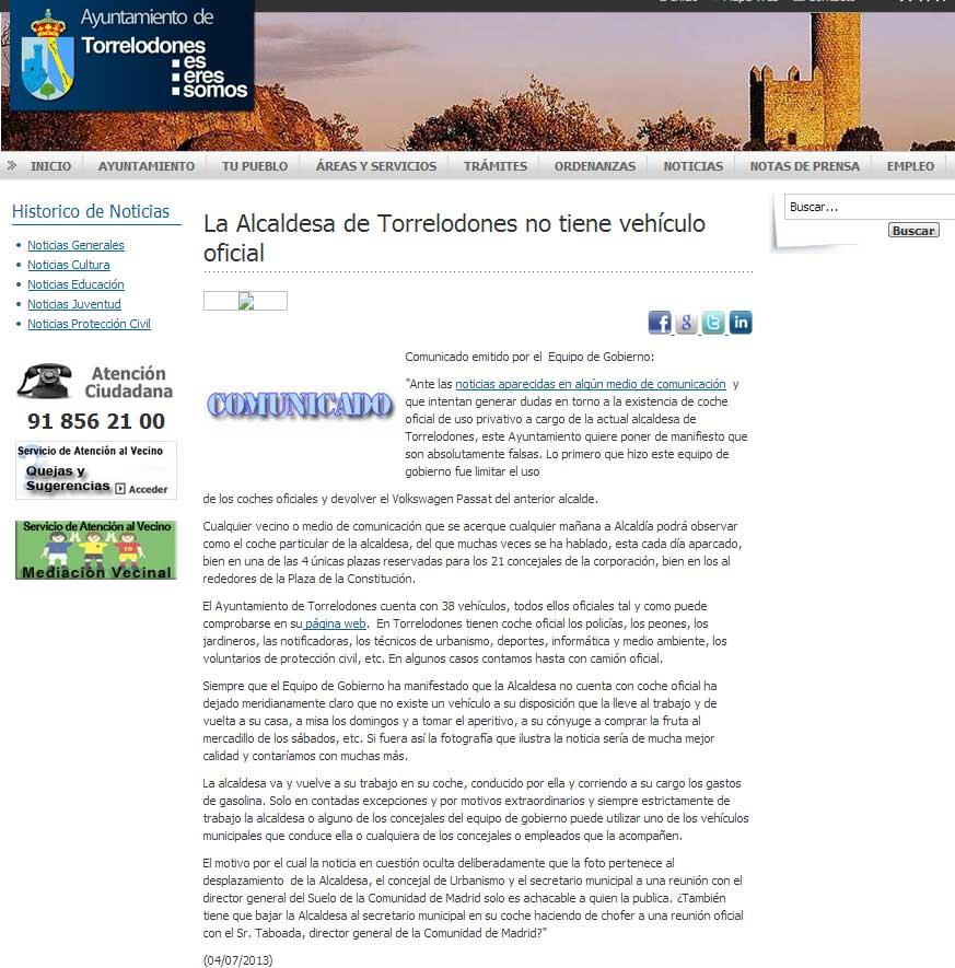 Comunicado del Ayuntamiento de Torrelodones sobre el coche oficial y la nota de El País