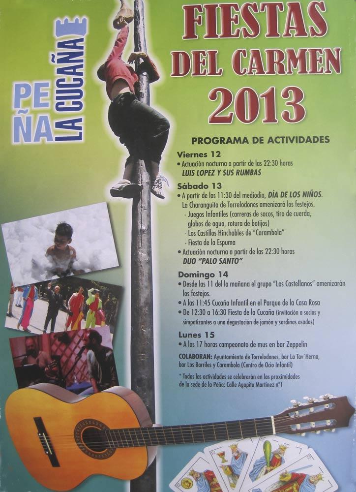 Programa de Actividades de la Peña La Cucaña para las Fiestas del Carmen 2013