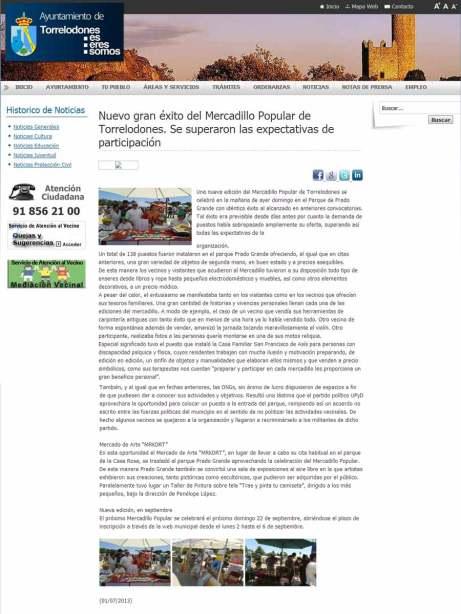 Nota del Ayuntamiento sobre el Mercadillo Popular, en que se critica a UPyD Torrelodones