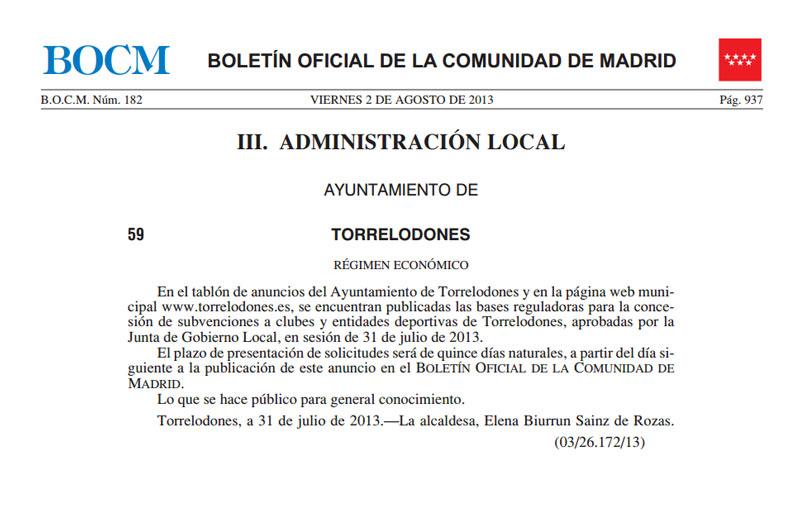 Anuncio Subvenciones Clubes y Entidades Deportivas de Torrelodones 2-8-2013