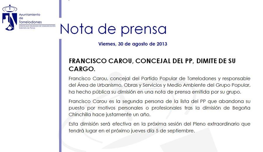 Nota de Prensa del Ayuntamiento sobre la renuncia de Francisco Carou