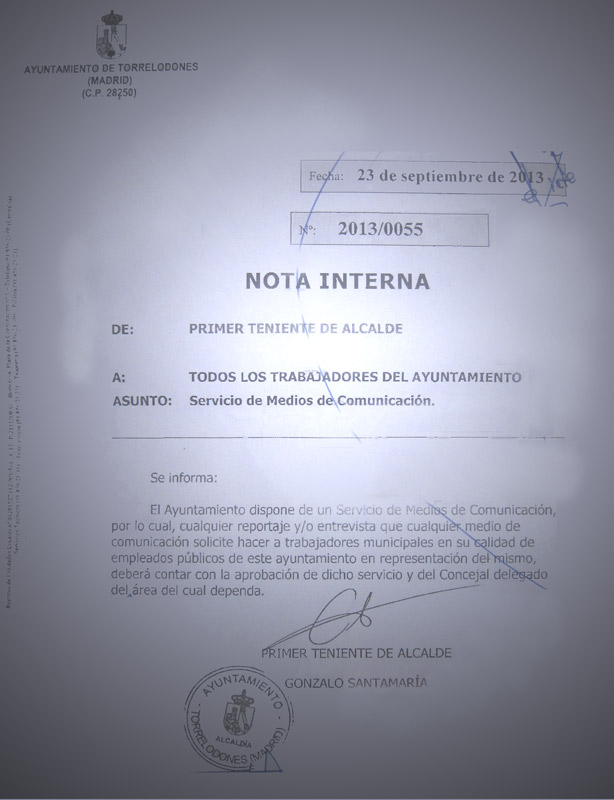 Nota Interna a los Trabajadores del Ayuntamiento