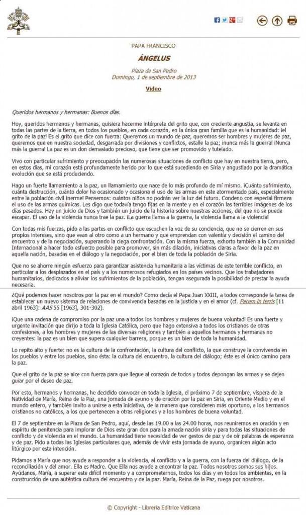 Llamamiento del Papa Francisco por la Paz, para el 7 de septiembre 2013