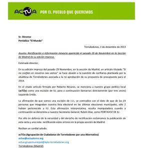 Carta de acTÚa al director de El Mundo