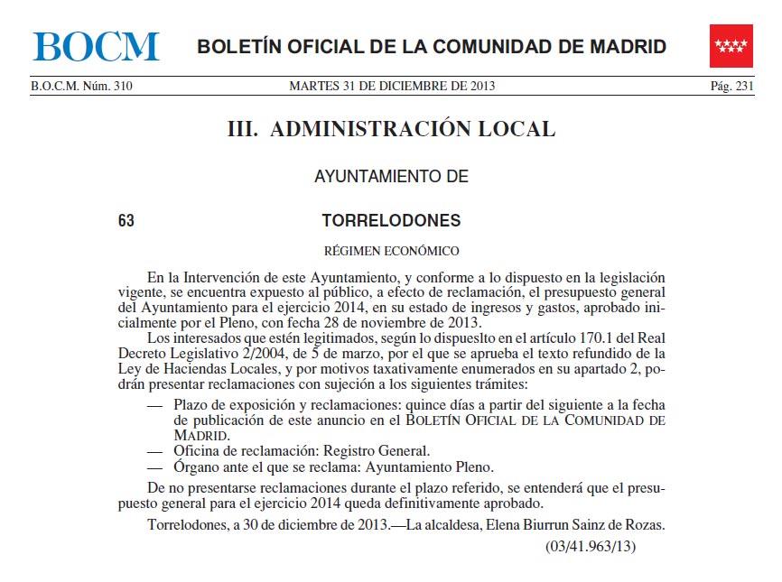 Expuesto al público, a efecto de reclamación, el presupuesto general del Ayuntamiento para el ejercicio 2014