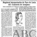Crítica de ABC 27-4-1991 Concierto de Paco de Lucía en Torrelodones