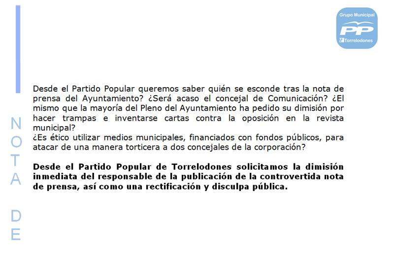 El PP pide la dimisión del responsable de la controvertida Nota de Prensa