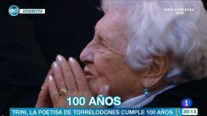 El 100º cumpleaños de Trini Muñoz, poetisa de Torrelodones, en TVE
