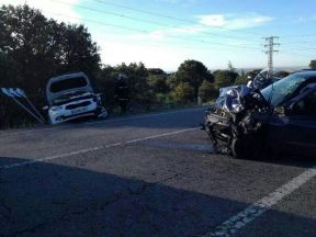 Tres coche se accidentan tras atropellar un ciervo en la carretera de Hoyo de Manzanares