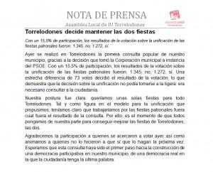 Nota de la Asamblea de Izquierda Unida de Torrelodones posterior a la Consulta Popular