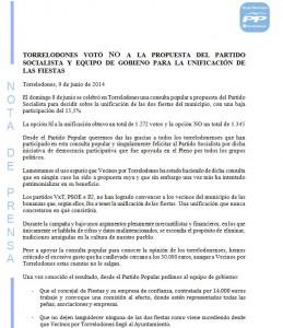 Nota del Partido Popular de Torrelodones posterior a la Consulta Popular