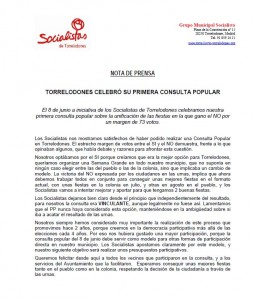 Nota de los Socialistas de Torrelodones posterior a la Consulta Popular