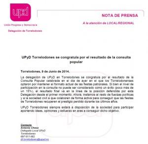 Nota de UPyD Torrelodones posterior a la Consulta Popular