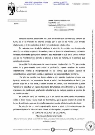 Contestación del Concejal de Seguridad 15-9-2014 publicada con datos personales