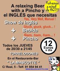 """""""Inglés con Pincho y Copas"""", los jueves a las 20:30h en """"La Mascotte"""", en Torrelodones"""