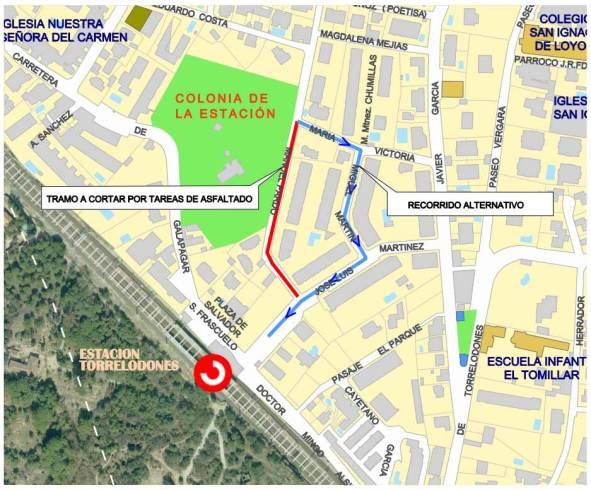 Tramo de la calle Manuel Pardo que se cortará (rojo) y desvío provisional (azul). Fuente: Ayto. de Torrelodones
