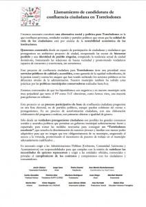 Llamamiento de candidatura de confluencia ciudadana en Torrelodones