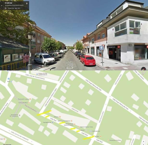 Zona en la que se interrumpirá el tráfico por las obras de peatonalización de la Calle Real de Torrelodones (Fuente imágenes: Google Maps)
