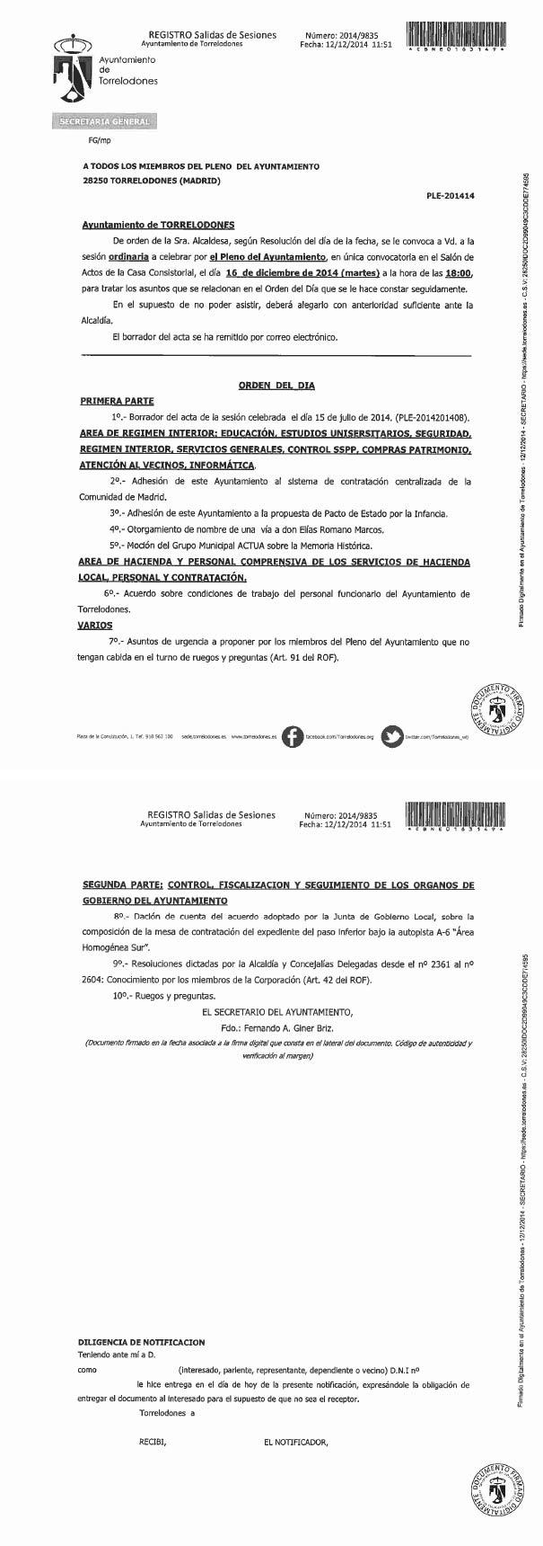 Convocatoria y Orden del Día - Pleno Ayto. Torrelodones 16-diciembre-2014