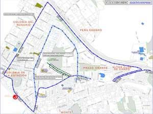 Zona de obras e itinerario alternativo transporte público (Imagen: Ayto. Torrelodones)