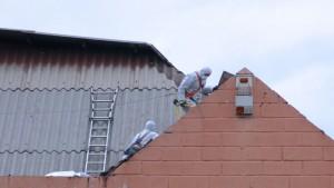 Trabajos para retirar las placas de amianto de la cubierta del Mercado Municipal de Galapagar