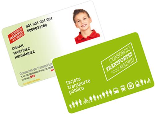 Tarjeta Transporte Público Infantil (Imagen: CRTM)