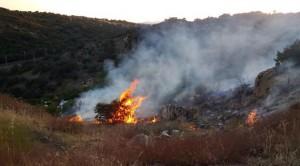 Incendio cerca punto limpio (Foto: Protección Civil de Torrelodones)