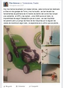 Herramientas de jardinería robadas en el interior de un vehículo en garaje de calle Juan Van Halen, Torrelodones