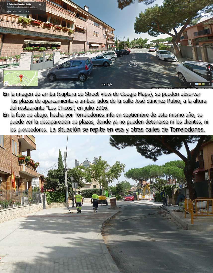 Destrucción de plazas de aparcamiento en Torrelodones
