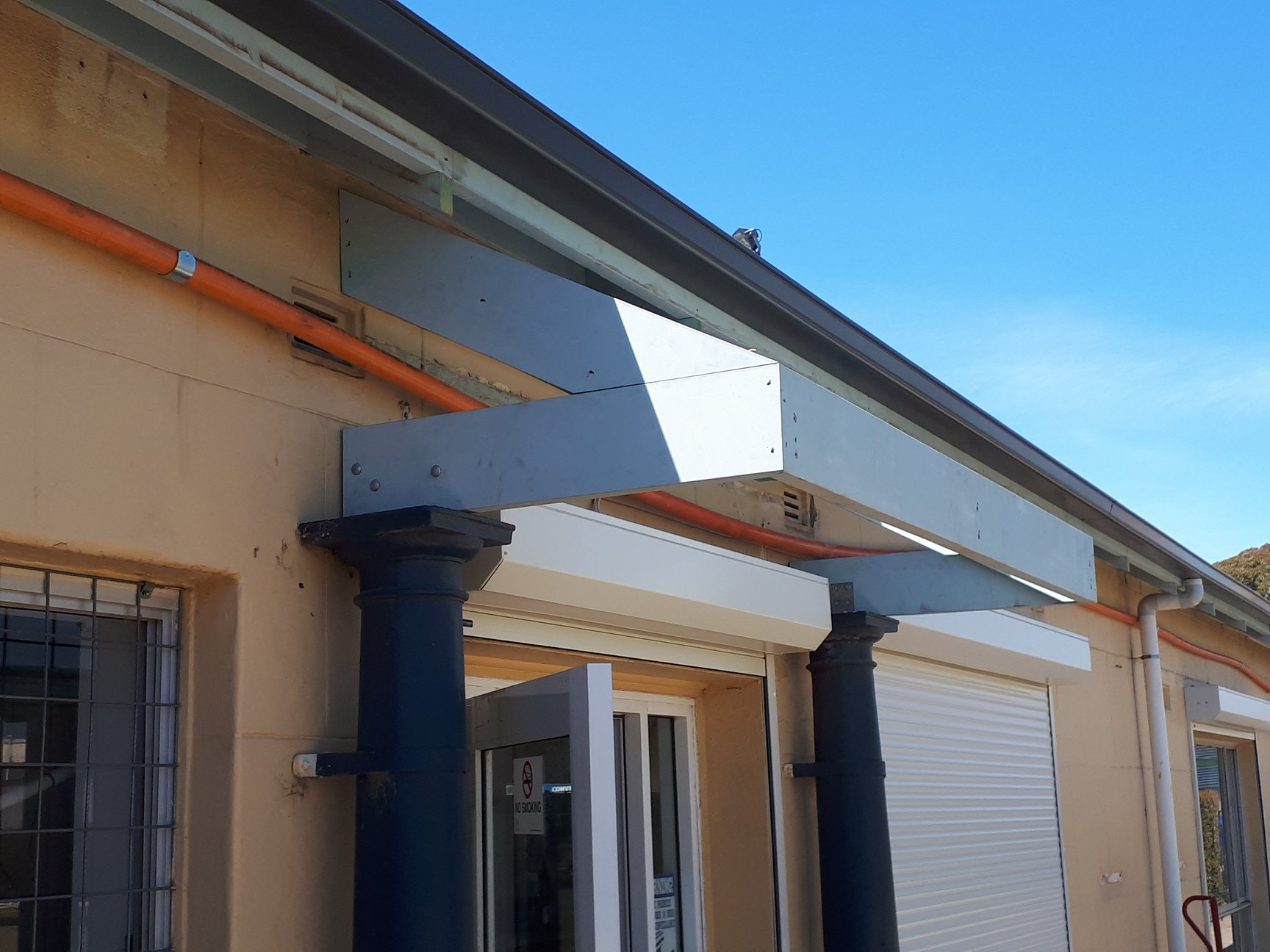 181205 New framed canopy over southern doors