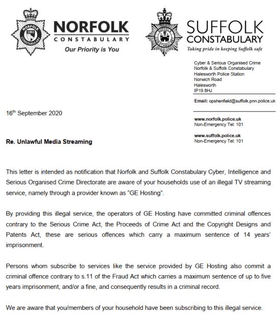 IPTV Warning Police UK