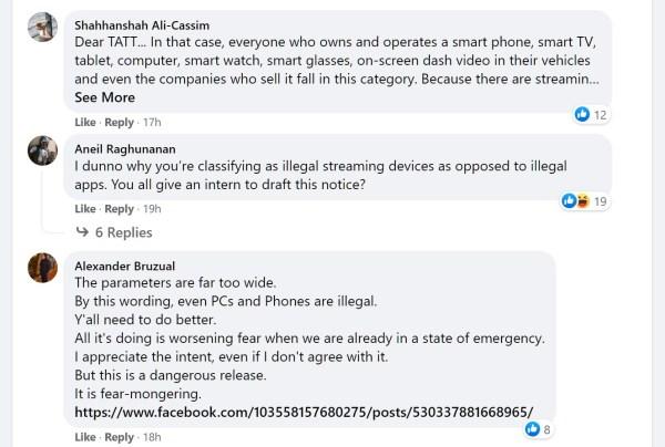 TTAT facebook comments