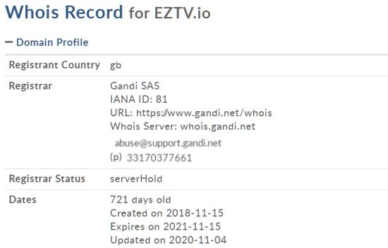 EZTV.io Whois