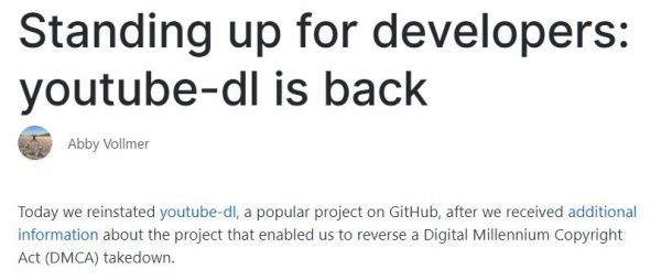 github reinstates youtube-dl