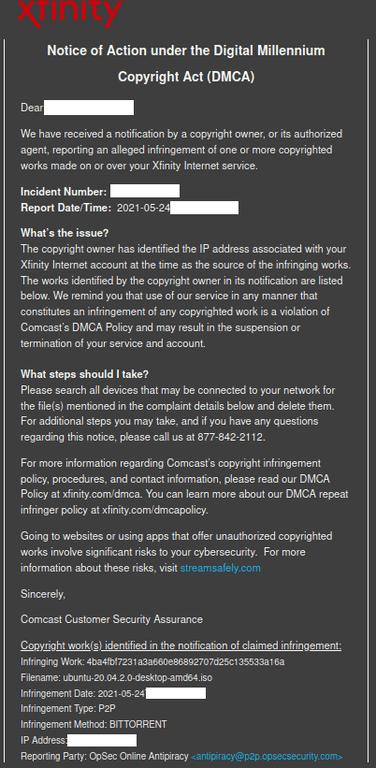 ubuntu dmca comcast