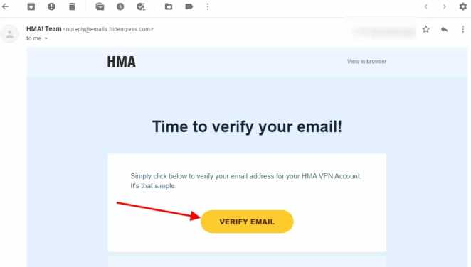 Time to verify your email! HMA account
