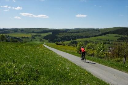 Schmale, asphaltierte Sträßlein durch den Wald und über die Höhen. Hier von Hof Dambach kommend über den Höhen von Girkhausen.