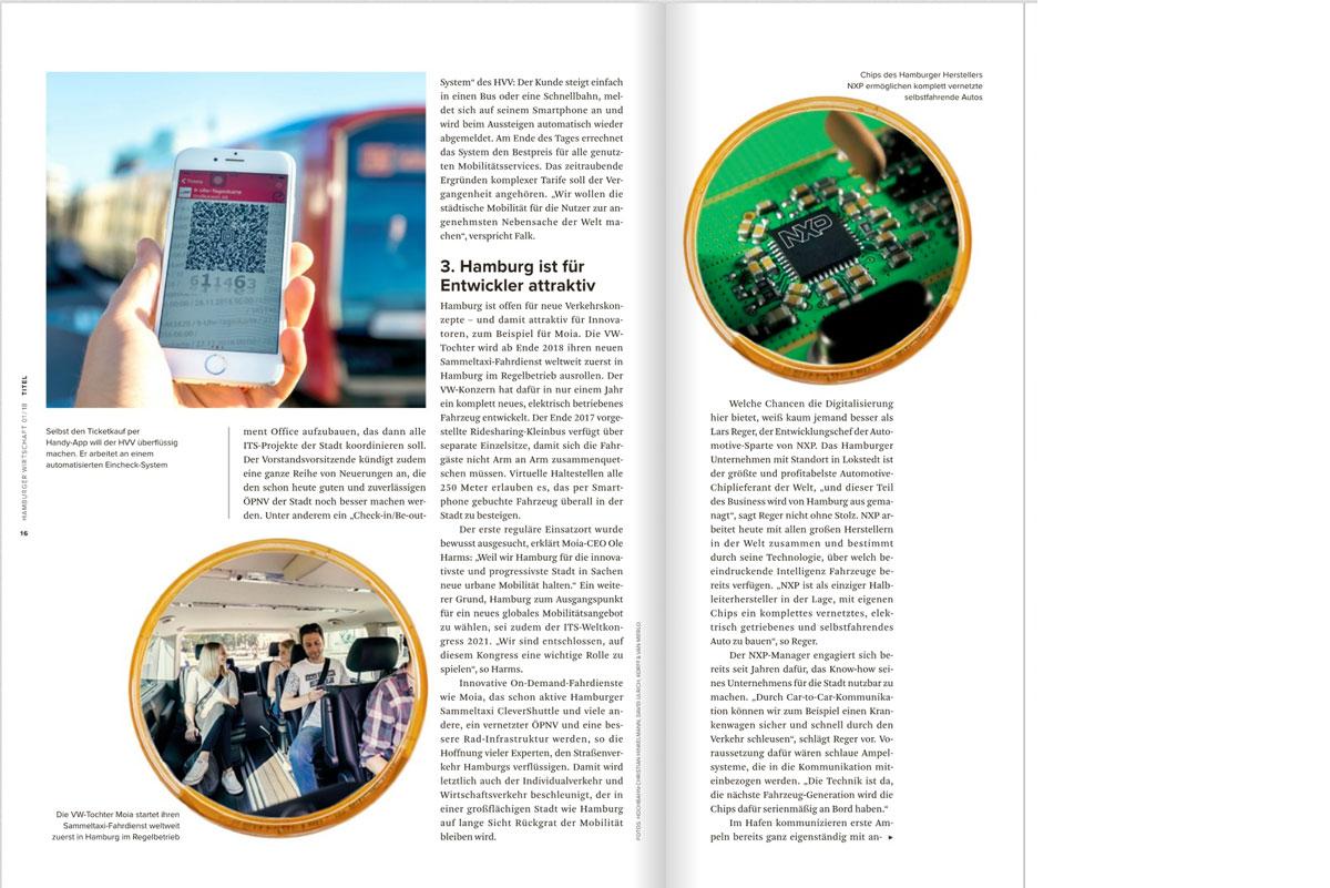 Labor für Mobilität – Titelstory der Hamburger Wirtschaft, Ausgabe Januar 2018