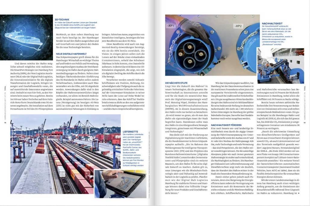 """Artikel """"Zukunft des Hafens"""" Hamburger Wirtschaft, Autor: Torsten Meise"""