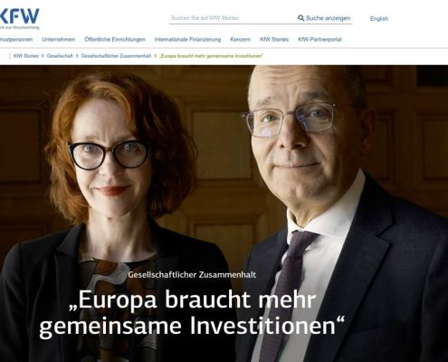 Screenshot: Interview Ulrike Guérot und Günther Bräunig, KfW Stories