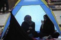Anti-regime Bahraini Shiite Muslim protesters camp in Manama's Pearl Square.