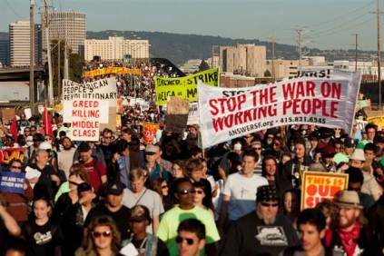 Demonstrators converge on the Port of Oakland, Calif., Wednesday during a general strike called by the Occupy Oakland movement. Nov. 3 2011
