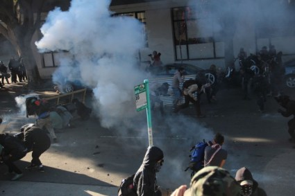 Oakland, Occupy protesters clashed with police forces who used tear gas and crowd-control projectiles against the crowd throughout the day. January 28, 2010