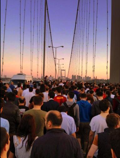 Turkey The Crowds on the Bosporus Bridge